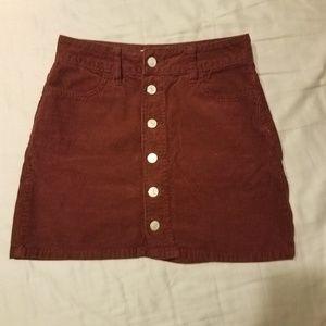PacSun Maroon Corduroy Mini Button Skirt
